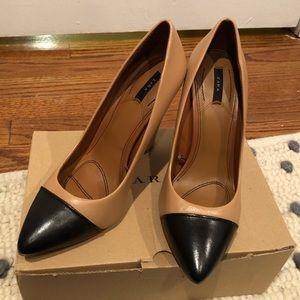 Zara pointed cap toe heels size 6
